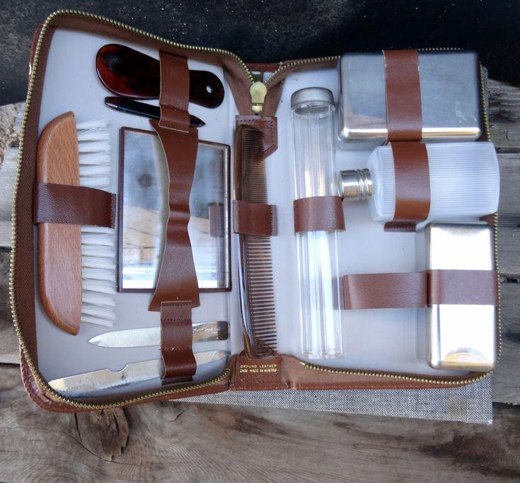 Mens Grooming Case - Mens Vanity Set, Vintage Grooming Set, Leather Vanity Case, Leather Grooming Case, Vanity Travel Set,Mens Shaving by TiesofMyFather on Etsy