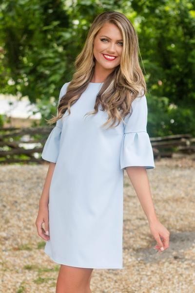 Baby Blue Dress- Preppy Bell Sleeve Dress- $30- Cute Online Boutique