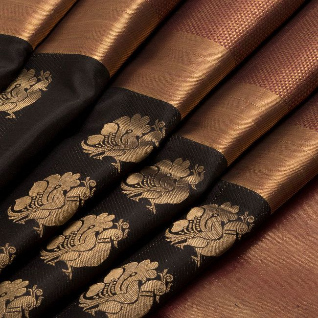 Handwoven Black Kanjivaram Silk Saree With Hamsa Motifs & Tissue border by Subhashini 10011282