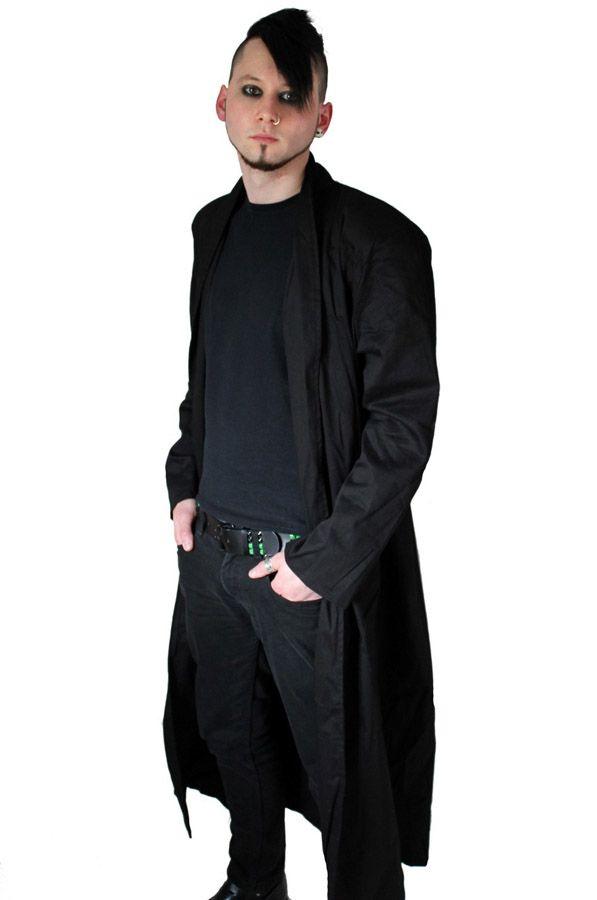 Phaze - Mens Black Duster Coat - Canvas  - £42.99 :