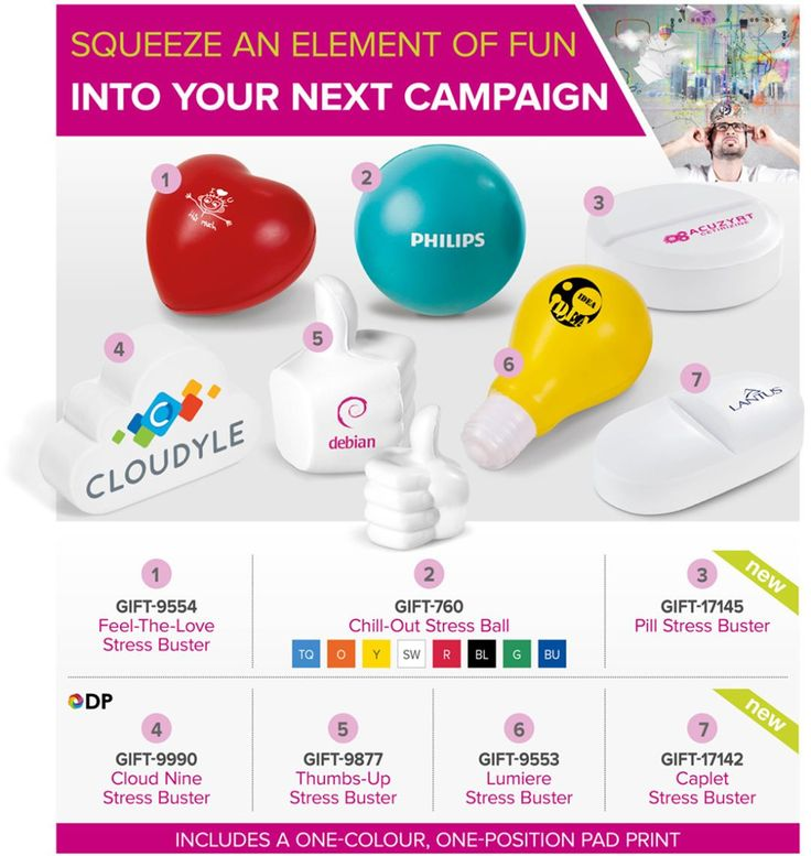 Best Branding supplies a wide range on Stress Balls, Stress Busters. Our range of Stress Busters offer a fun and creative way to promote your brand, the ideal give-away for people of all ages.  New to our collection, the Pill and Caplet Stress Busters are perfect for the pharmaceutical industry.  Available in an assortment of shapes and colours, all of the styles shown above include a one-colour, one-position pad print. No minimum quantities apply to the inclusive-of-branding promotion but…