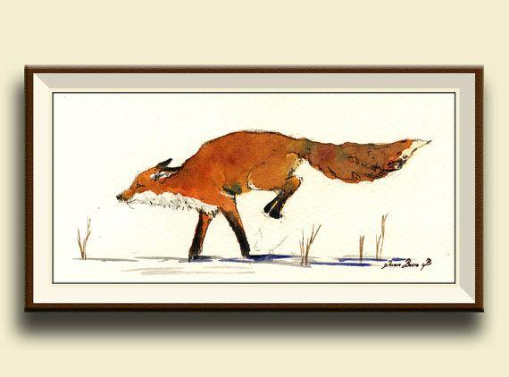 Red Fox art found on Etsy listing at https://www.etsy.com/listing/191596468/print-red-fox-jumping-snow-print