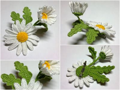 No directions, but lots of good pictures and ideas. This is an unique way to make a Daisy.