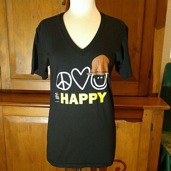 Peace Love World Pharrell V Neck Top Be Happy In The Fun Plw Top