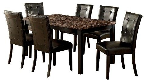 Furniture of America ioHomes 7pc Faux Marble Dining Table Set Wood/Black