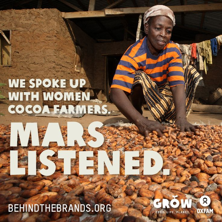 After more than 65,000 people signed petitions and took action to urge chocolate companies to do the right thing for women cocoa farmers, Mars and Nestle have today made commitments to begin to tackle the inequality, hunger and poverty faced by women in their cocoa supply chains. Mondelez International, which controls 15% of the global chocolate market, has yet to follow suit in spite of consumer pressure. More at www.oxfam.org/behindthebrands: Cocoa Growers, Chocolates Marketing, Cocoa Farmers, Women Cocoa, Mars Listening, Chocolates Company, Help Women, 65 000 People, Follow Suits