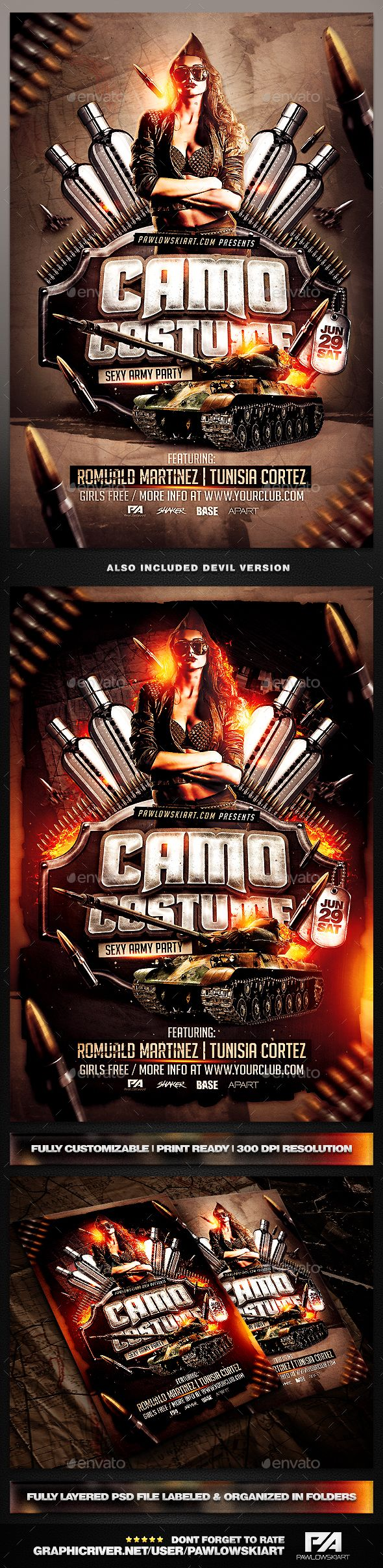 Camo Costume Party PSD Flyer Template - Clubs & Parties Events
