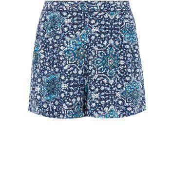 Blue Tile Print Shorts