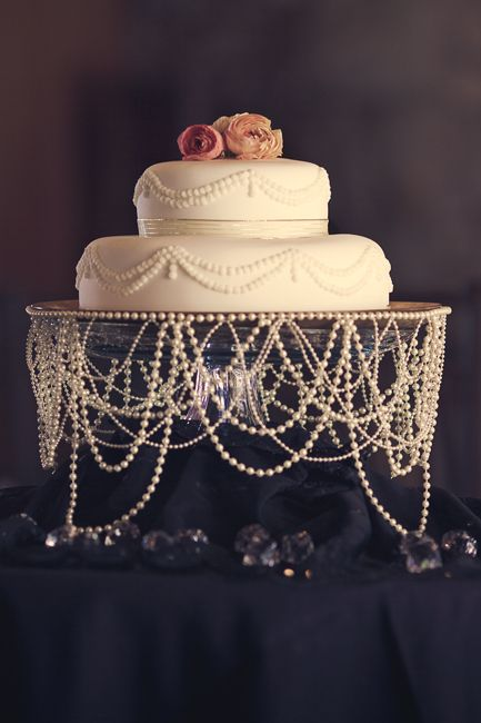 Draped pearl wedding cake