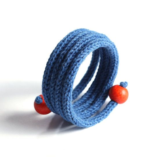 Knitted yarn bracelet blue denim yarn jewelry by bymarkova on Etsy, $18.00