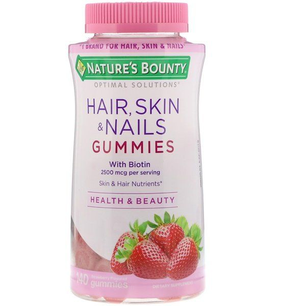 Nature S Bounty Optimal Solutions Hair Skin Nails Strawberry Flavored 2 500 Mcg 140 Gummies Nature S Bounty Hair Nutrients Health And Beauty