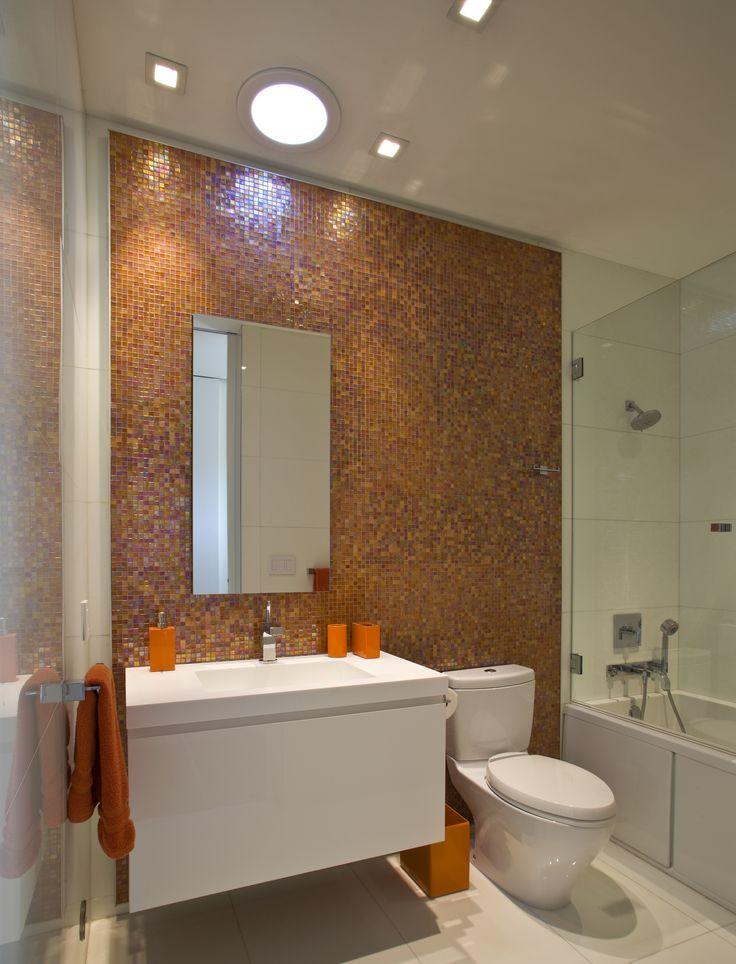 ideas for bathrooms decorating%0A Orange Bathroom Glass Mosaic and White Porcelain Tile on Floors