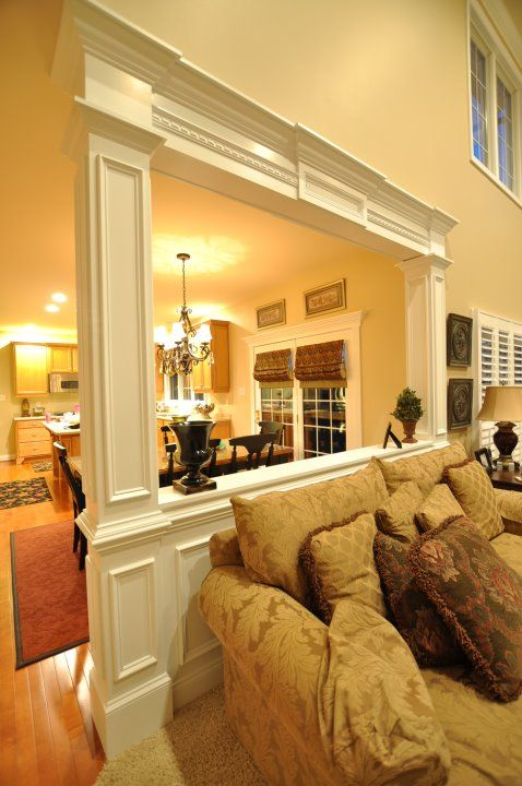 Pony wall room divider trim with column kitchen ideas Room divider wall ideas