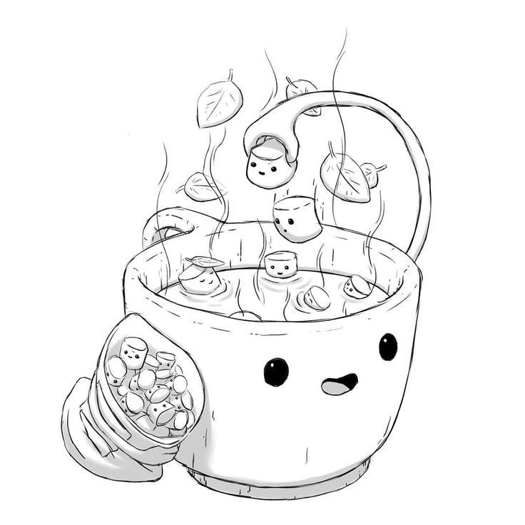 Cocoa onsen 🍫☕ . . . #illustration #artist #a…