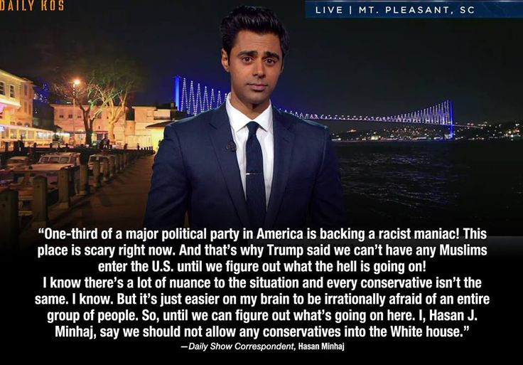 Daily Show correspondent, Hasan Minhaj following Donal Trump's call to ban all Muslims from entering the U.S.