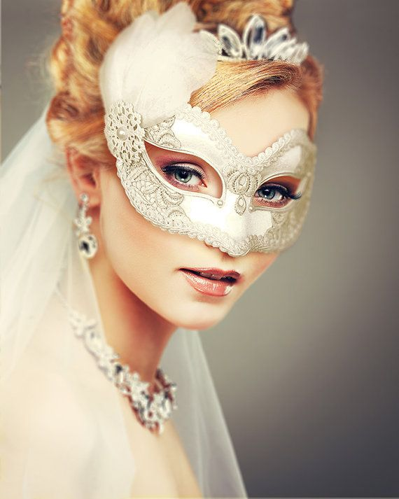 White Embroidery Masquerade Mask With Feathers  White by SOFFITTA