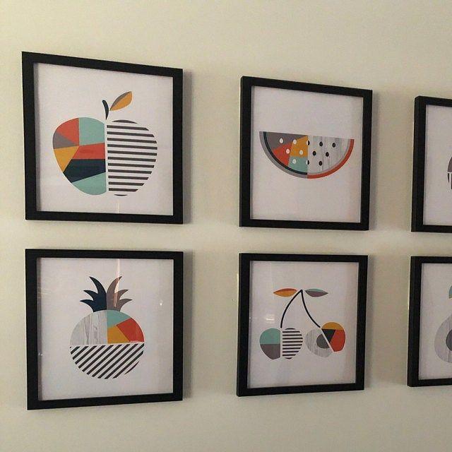 Geometric Fruit Print Set Modern Geometric Fruit Decor Etsy In 2020 Modern Kitchen Wall Decor Yellow Kitchen Decor Teal Kitchen Walls