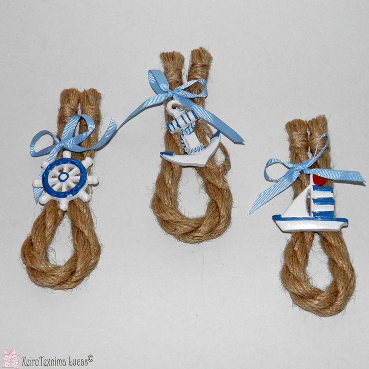 Καλοκαιρινή διακοσμητική σύνθεση με χοντρο σχοινί και θαλασσινά διακοσμητικά. Ιδανικό για στολισμό σε λαμπάδα. Summer decoration with jute rope and ceramic navy ornaments