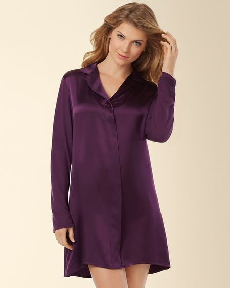Vestido de noite Sleepshirt roxo 100% de seda de noite pijamas de seda para meninas