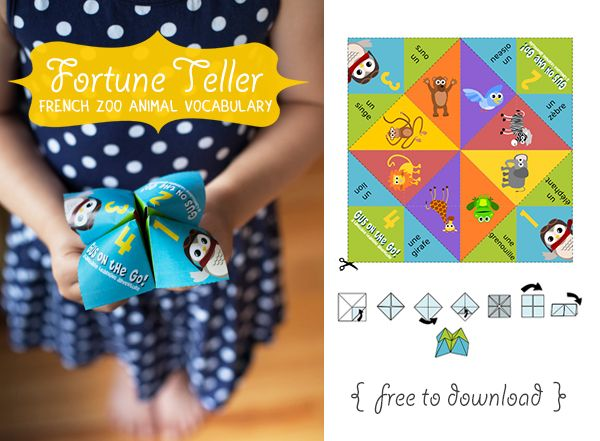 Gus on the Go French Zoo Animal Fortune Teller Printable