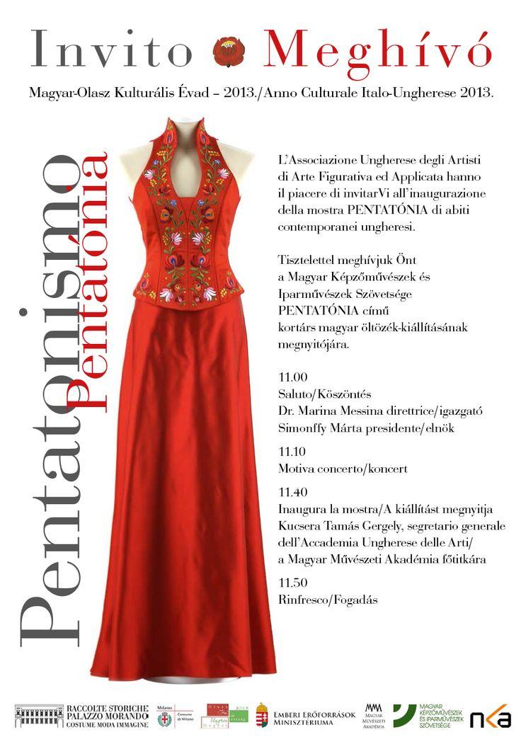 Pentatónia címmel kortárs magyar ruhatervezők kiállítása látható július 14-ig Milánóban, a Palazzo Morandóban.