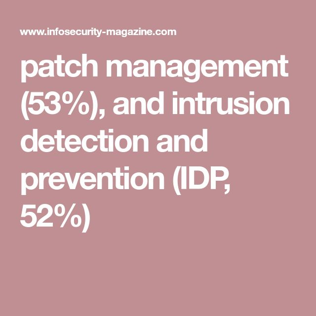 patch management (53%), and intrusion detection and prevention (IDP, 52%)