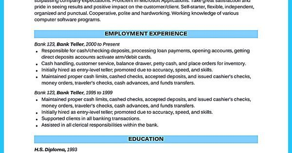 Learning to Write from a Concise Bank Teller Resume Sample Vina - bank teller responsibilities