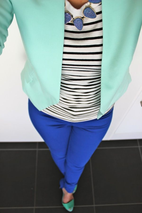 10/10 Love this outfit for work.  Great bold colors and stripes paired together.  Love shoes matching blazer, and chunky necklace matching color of pants.