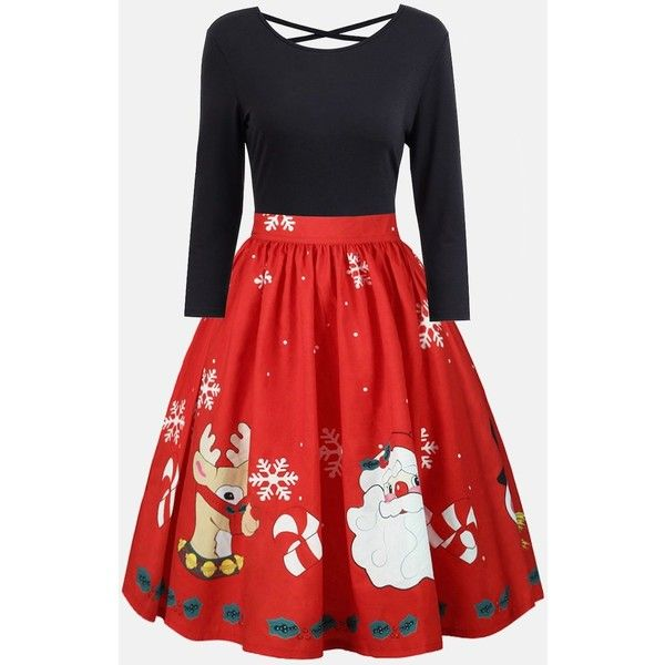 Plus Size Christmas Criss Cross Print Dress ($19) ❤ liked on Polyvore featuring dresses, rosegal, plus size red dress, plus size christmas dresses, christmas dresses, plus size print dress and christmas pattern dress
