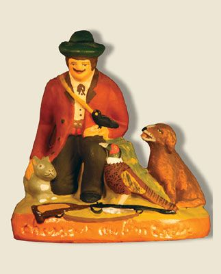 Wish: Good-hearted hunter sitting; santons Fouque collection 9 cm