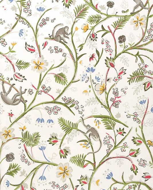 Guadeloupe Floral Wallpaper White wallpaper with wild jungle fauna design in pale green, light grey and pink. complete with the odd monkey!