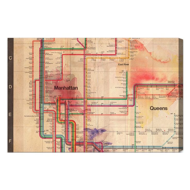 Map Of Paisley%0A Hatcher  u     Ethan Manhattan Subway Tracks Canvas Art   HE        X   CANV XHD HE