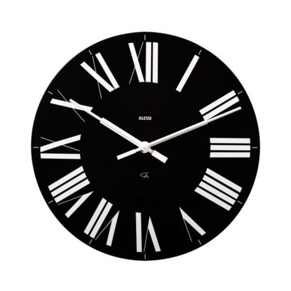 Alessi Firenze Wall Clock ($90) ❤ liked on Polyvore featuring home, home decor, clocks, oversized wall clocks, alessi wall clock, roman numeral clock, alessi and oversized clocks