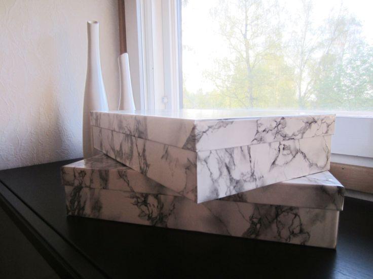 Tee-se-itse-naisen sisustusblogi: Shoe Boxes Covered With D-C-Fix