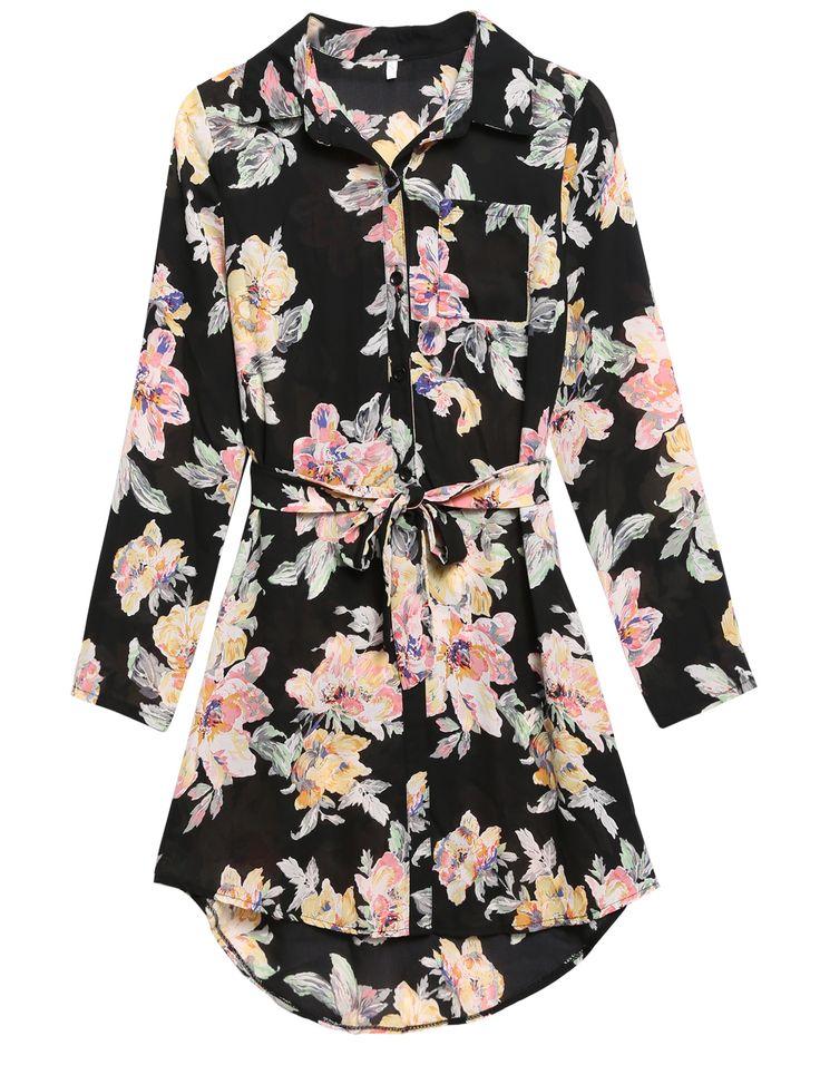 Black Long Sleeve Print Bandage Mini Chiffon Shirt Casual Dress