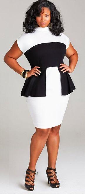 "plussizeebony:  Anita Marshallin""CECELIA"" PEPLUM PONTE DRESS -..."