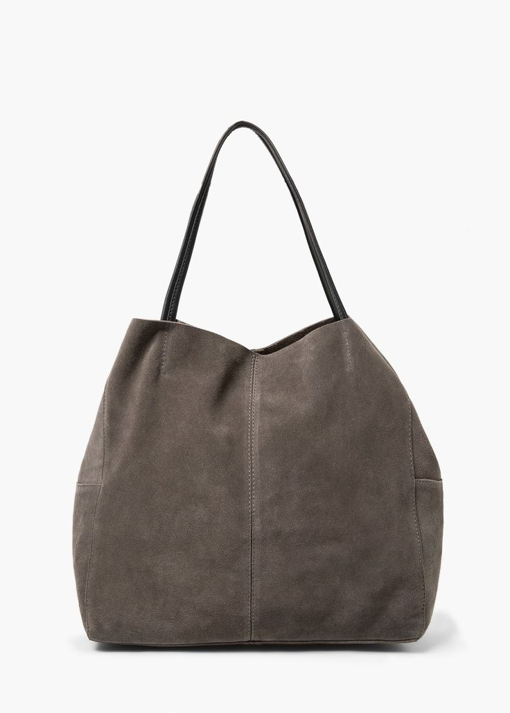 Suede shopper bag - Bags for Women | MANGO