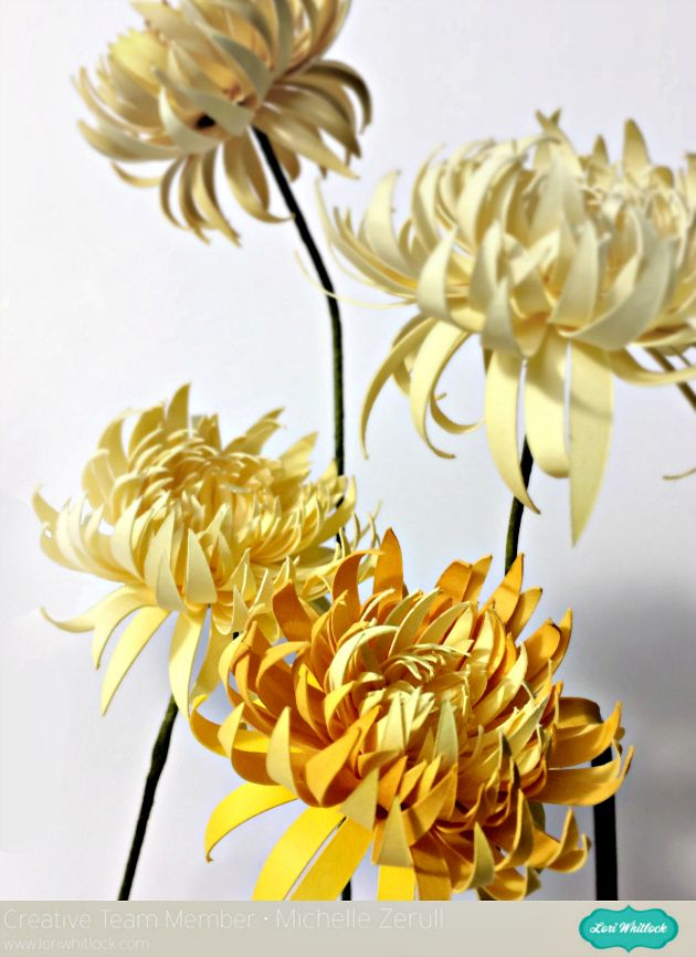Paper Flower Chrysanthemum Tutorial DIY by Michelle Zerull from Pinch Your Chic using SVG digital cut files from Lori Whitlock