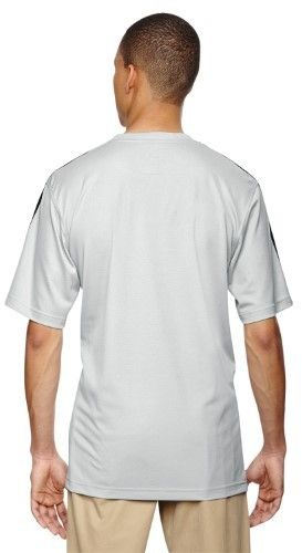 adidas A72 Unisex ClimaLite 3-Stripes Golf Tee Blank T-Shirt Light Onix/Black/Black 2XL