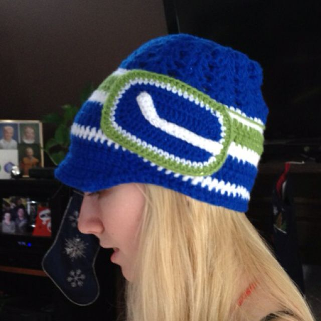 Crochet Canucks hat by Kaylee Kakes Crochet