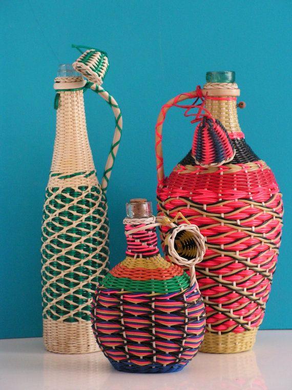 Vintage set of three multi color glass bottles by Vintouchables