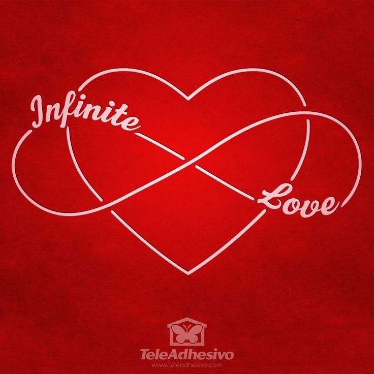 """Vinilo decorativo amor infinito, una silueta de un corazón cruzándose con el símbolo de infinito con la inscripción en inglés """"Infinite Love"""""""