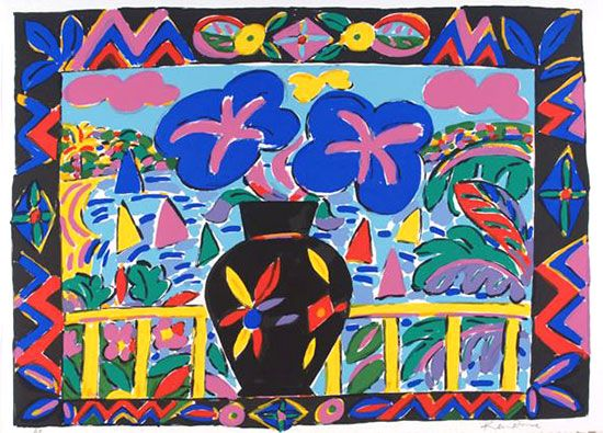 Ken Done AM   Australia  b.29 Jun 1940   Vase at the Cabin 1986 screen print on paper ed. Artists Proof  54 x 74cm