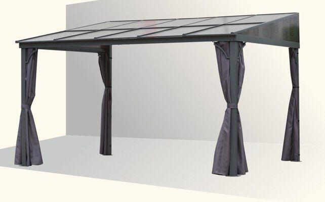 Die Moderne Terrassenuberdachung Mit Seitenwanden Aus Stoff Anbau Terrassenuberdachung Toledo Mit Lichtdurchlassig Bronci In 2020 Terrassen Dach Terrassendach Pavillon