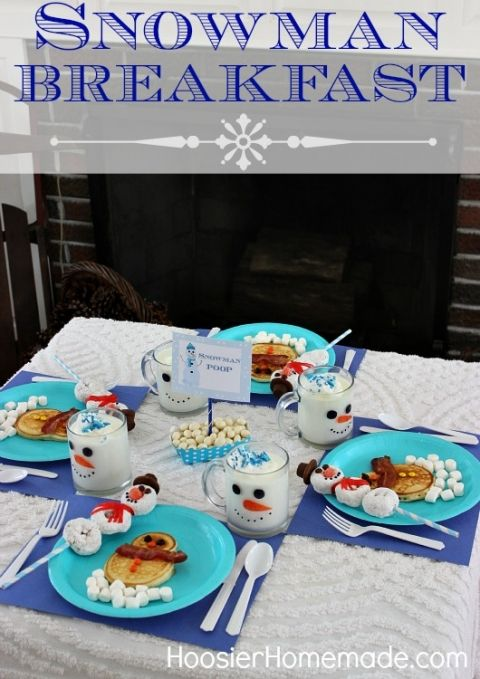 Snowman Breakfast for the Kids with Free Printables | Hoosier Homemade