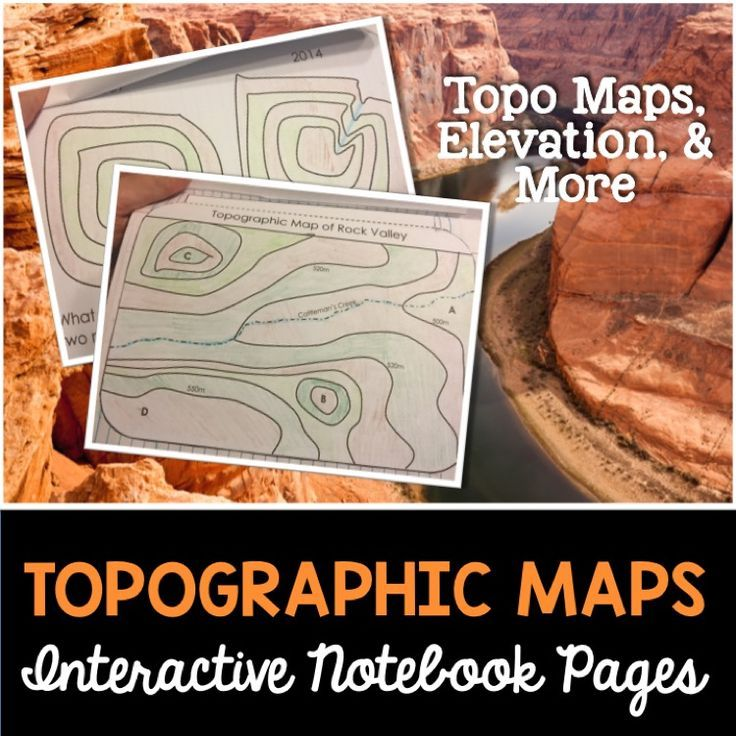 Topographic maps templates for science interactive notebooks.  These awesome maps will help students learn all about topographic maps.