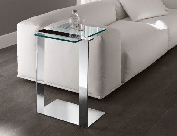 Nella Vetrina Italian Glass Table Handmade And Shown In Transparent Glass  With Drawers In White And