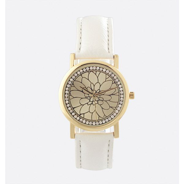 Avenue Floral Burst Watch ($25) ❤ liked on Polyvore featuring jewelry, watches, plus size, white, floral watches, artificial jewellery, fake watches, imitation jewellery and white jewelry