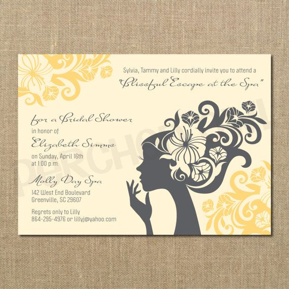 Blissful Day at the Spa Bridal Shower Invitation by PerchedOwl, $12.00