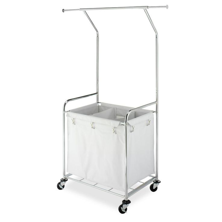 Commercial Laundry Center White Chromed Steel Frame 3-Bin Laundry Sorter with Hanging Bar and Locking Wheels, Grey